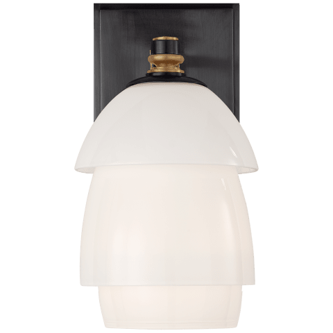 Whitman Small Sconce in Bronze and Hand-Rubbed Antique Brass with White Glass Shade