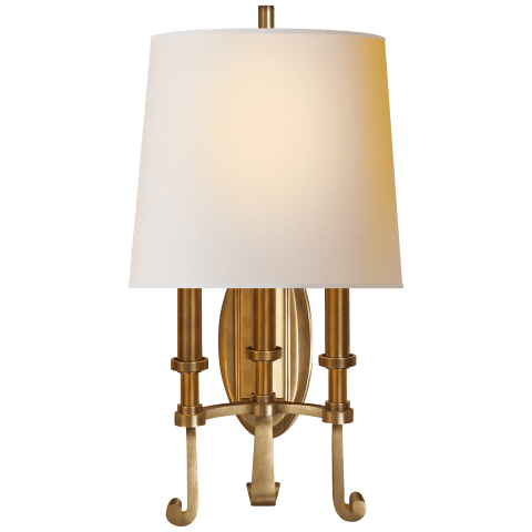 Calliope Three-Light Sconce in Hand-Rubbed Antique Brass with Natural Paper Shade