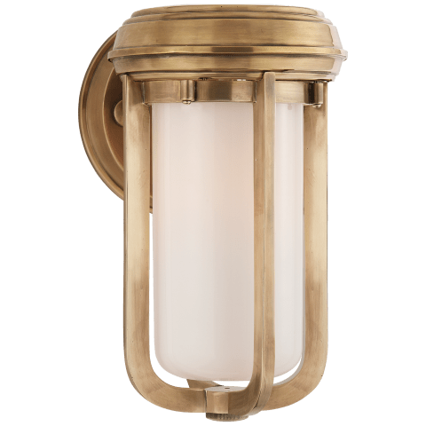 Milton Small Sconce in Hand-Rubbed Antique Brass with White Glass