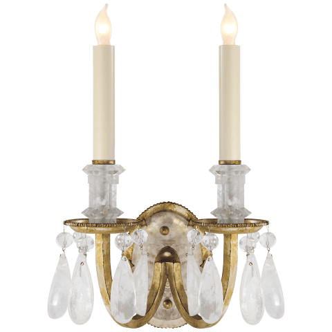 Elizabeth Double Sconce in Gilded Iron with Quartz