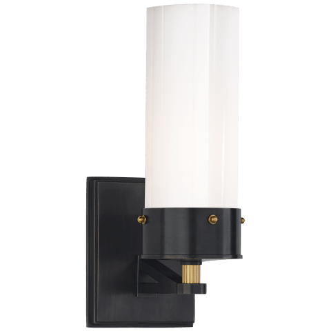 Marais Medium Bath Sconce in Bronze and Hand-Rubbed Antique Brass with White Glass