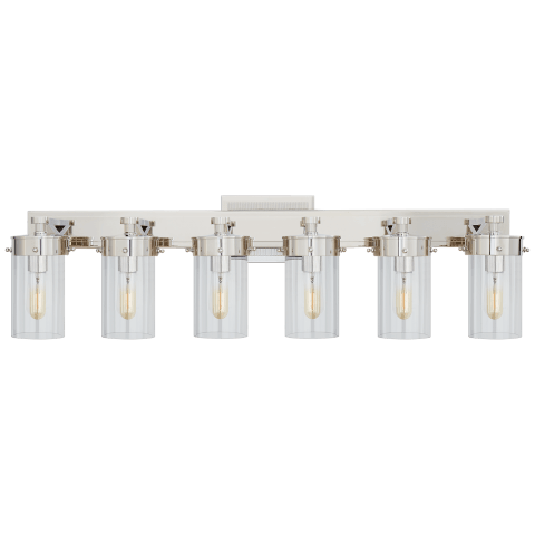 Marais Six-Light Bath Sconce in Polished Nickel with Clear Glass