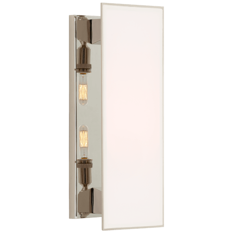 Albertine Medium Sconce in Polished Nickel with White Glass Diffuser