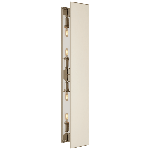 Albertine Large Sconce in Polished Nickel with Linen Diffuser