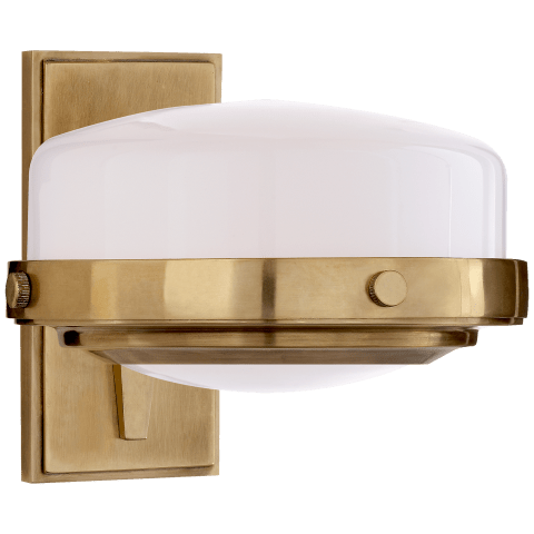 Connor Sconce in Hand-Rubbed Antique Brass with White Glass