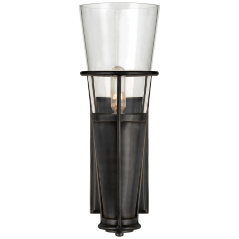 Robinson Single Sconce in Bronze with Clear Glass
