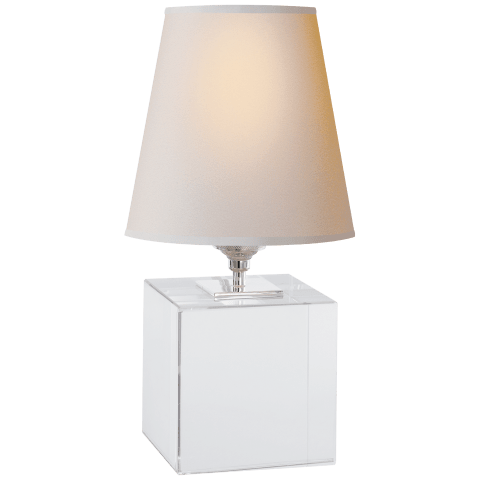 Terri Cube Accent Lamp in Crystal with Natural Paper Shade