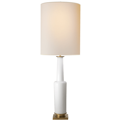 Fiona Large Table Lamp in White Glass with Natural Paper Shade