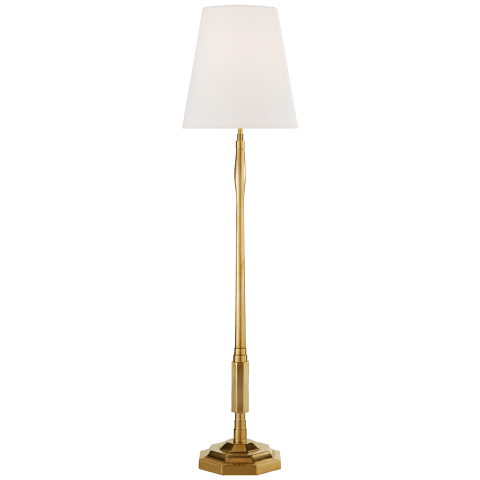 Duffy Medium Buffet Lamp in Hand-Rubbed Antique Brass with Linen Shade
