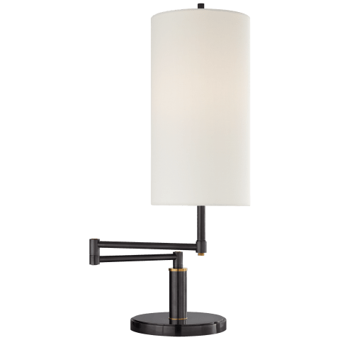 Anton Large Swing Arm Table Lamp in Bronze and Hand-Rubbed Antique Brass with Linen Shade