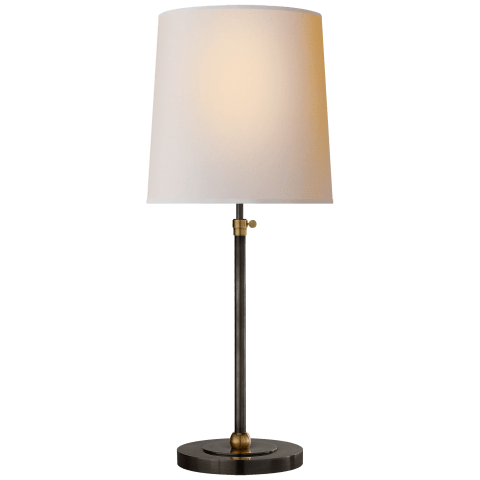 Bryant Large Table Lamp in Hand-Rubbed Antique Brass with Natural Paper Shade