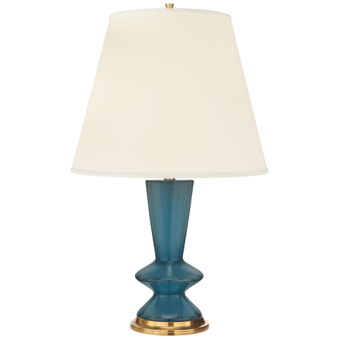 Arpel Table Lamp in Dark Olive with Natural Percale Shade