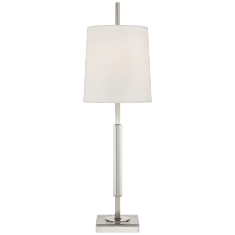 Lexington Medium Table Lamp in Polished Nickel and Crystal with Linen Shade