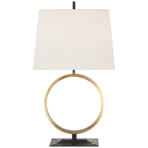 Simone Medium Table Lamp in Bronze and Hand-Rubbed Antique Brass with Linen Shade