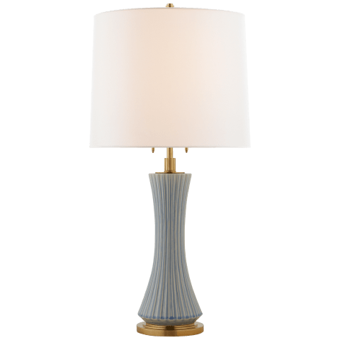 Elena Large Table Lamp in Polar Blue Crackle with Linen Shade