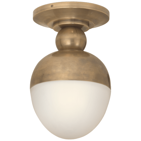 Clark Flush Mount in Hand-Rubbed Antique Brass with White Glass