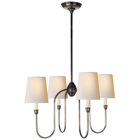 Vendome Small Chandelier in Bronze with Natural Paper Shades