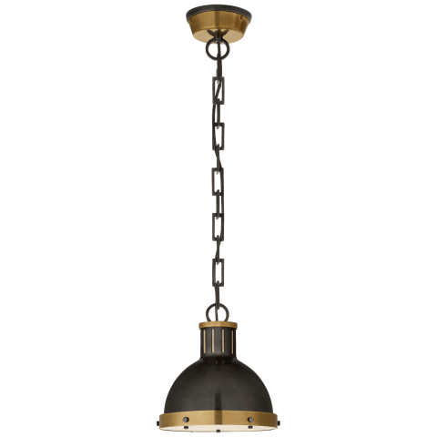 Hicks Small Pendant in Bronze and Hand-Rubbed Antique Brass with Acrylic Diffuser