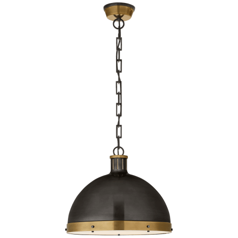 Hicks Extra Large Pendant in Bronze and Hand-Rubbed Antique Brass with Acrylic Diffuser
