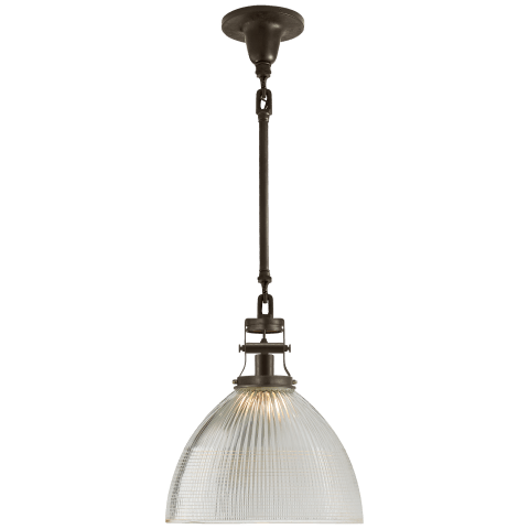 Millson Medium Pendant in Aged Iron with Prismatic Clear Glass