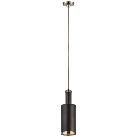 Anders Large Cylindrical Pendant in Antique Nickel and Bronze