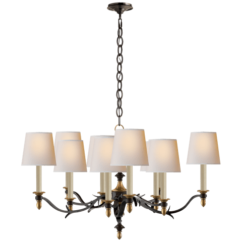 Chandler Small Chandelier in Black Rust with Hand-Rubbed Antique Brass with Natural Paper Shades
