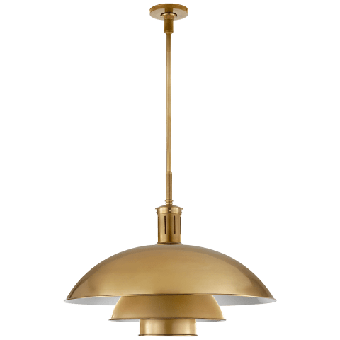 Whitman Large Pendant in Hand-Rubbed Antique Brass with Hand-Rubbed Antique Brass Shade