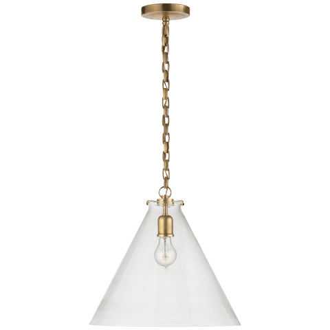 Katie Conical Pendant in Polished Nickel with White Glass