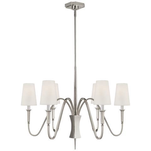 Delphia Small Chandelier in Polished Nickel with Linen Shade