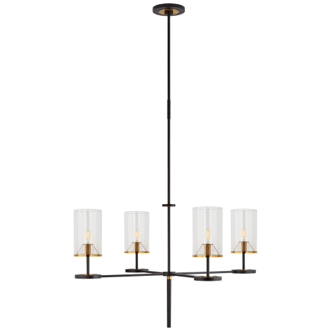 Vivier Large Chandelier in Blackened Iron and Hand-Rubbed Antique Brass with Cylinder Clear Glass