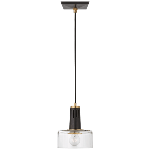Iris Single Pendant in Bronze and Hand-Rubbed Antique Brass with Clear Glass