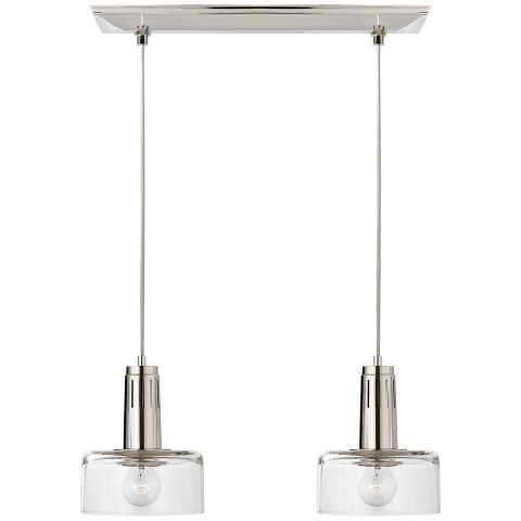 Iris Double Linear Pendant in Polished Nickel with Clear Glass