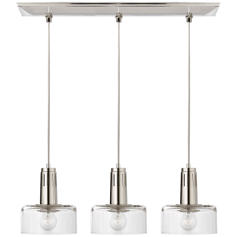 Iris Triple Linear Pendant in Polished Nickel with Clear Glass