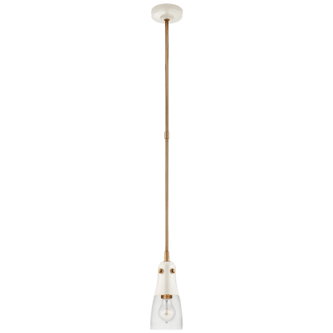 Altare Petite Pendant in Antique White and Hand-Rubbed Antique Brass with Clear Glass