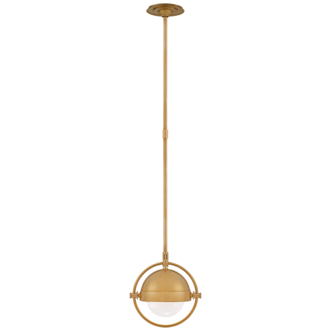 Decca Small Orbital Pendant in Hand-Rubbed Antique Brass with White Glass