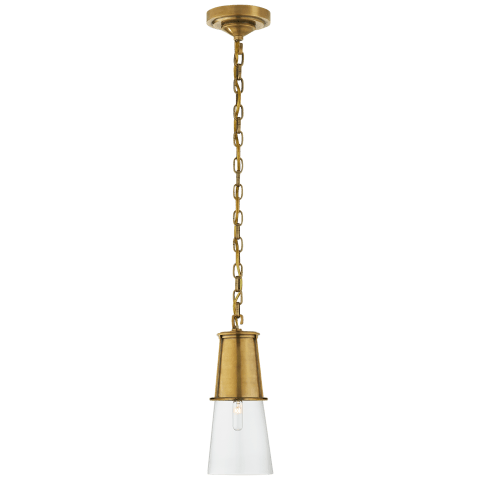 Robinson Small Pendant in Hand-Rubbed Antique Brass with Clear Glass