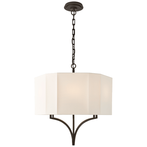 Pietro Hanging Shade in Aged Iron with Linen Shade