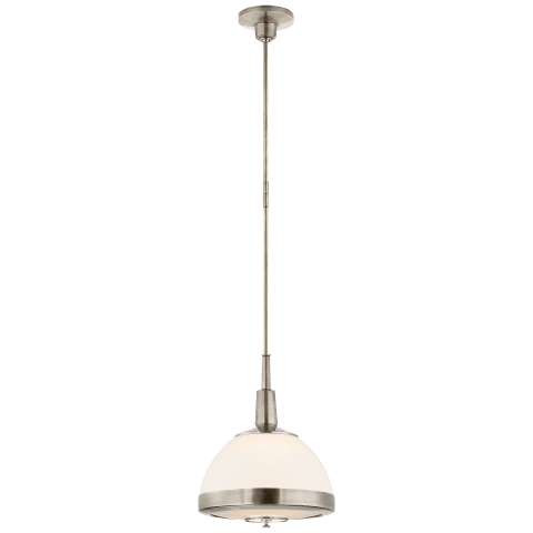 Connor Small Pendant in Antique Nickel with White Glass