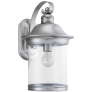 Hermitage One Light Outdoor Wall Lantern Antique Brushed Nickel