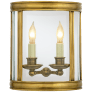 Edwardian Medium Half Round Wall Lantern in Antique-Burnished Brass