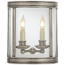 Edwardian Medium Half Round Wall Lantern in Antique Nickel