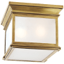 Club Small Square Flush Mount in Antique-Burnished Brass with Frosted Glass