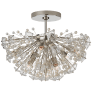 Dickinson Medium Semi-Flush in Polished Nickel with Clear Glass and Cream Pearls