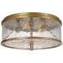 Liaison Medium Flush Mount in Antique-Burnished Brass with Crackle Glass