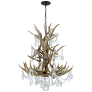 Straton Single Tier Chandelier in Natural Bone with Antiqued Crystal