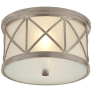 Montpelier Small Flush Mount in Antique Nickel with Frosted Glass