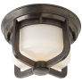 Milton Short Flush Mount in Bronze with White Glass