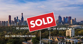 Development / Land commercial property sold at 30 Anderson Street, 25-29 Kurneh Street & 216-218 Domain Road South Yarra VIC 3141