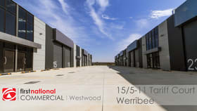 Factory, Warehouse & Industrial commercial property for lease at 15/5-11 Tariff Court Werribee VIC 3030