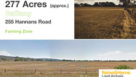 Development / Land commercial property for sale at 255 Hannans Rd Balliang VIC 3340